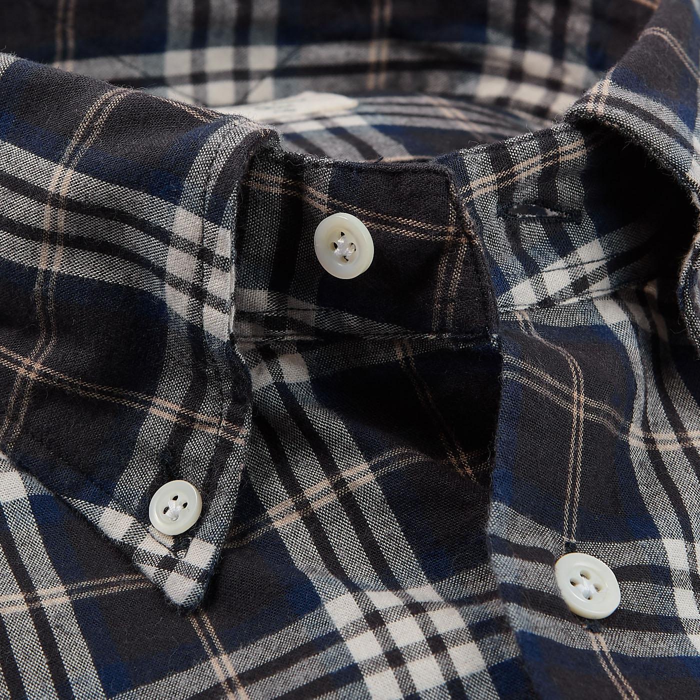 Mazzarelli Brown Checked Cotton Flannel Western Shirt Open Collar