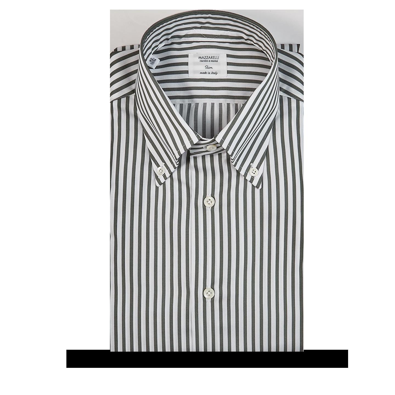 Mazzarelli Green Striped Button Down Slim Shirt Feature