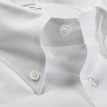 Mazzarelli White Royal Oxford Button Down Slim Shirt Open Collar