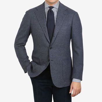 Ring Jacket Blue Grey Prince of Wales Balloon Wool Blazer Front (kopia)
