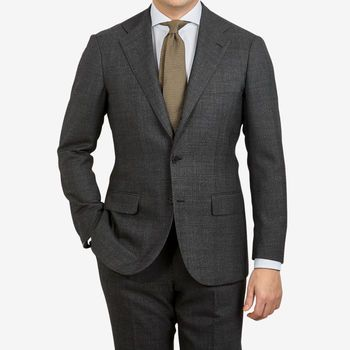 Ring Jacket Charcoal Grey Prince of Wales Checked Suit Front (kopia)