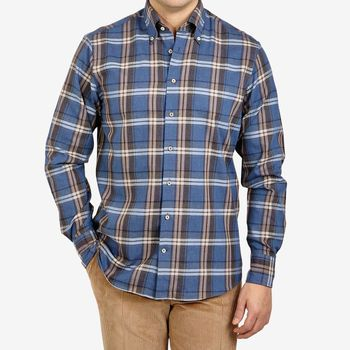 Stenströms Blue Checked Cotton Flannel Fitted Body Shirt Front (kopia)