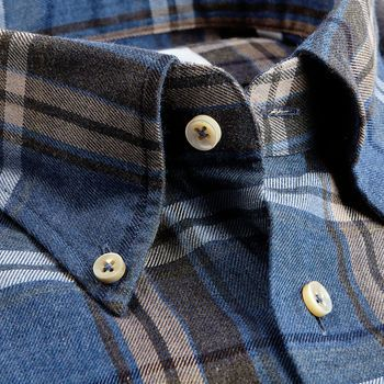 Stenströms Blue Checked Cotton Flannel Fitted Body Shirt Open