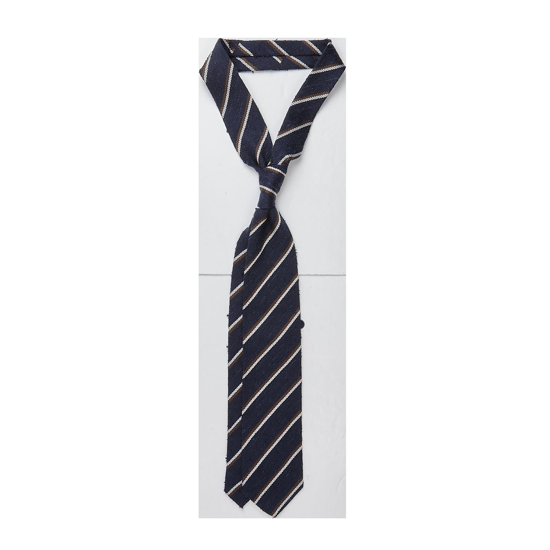 Amanda Christens Navy Striped Silk Tussah Tie Feature