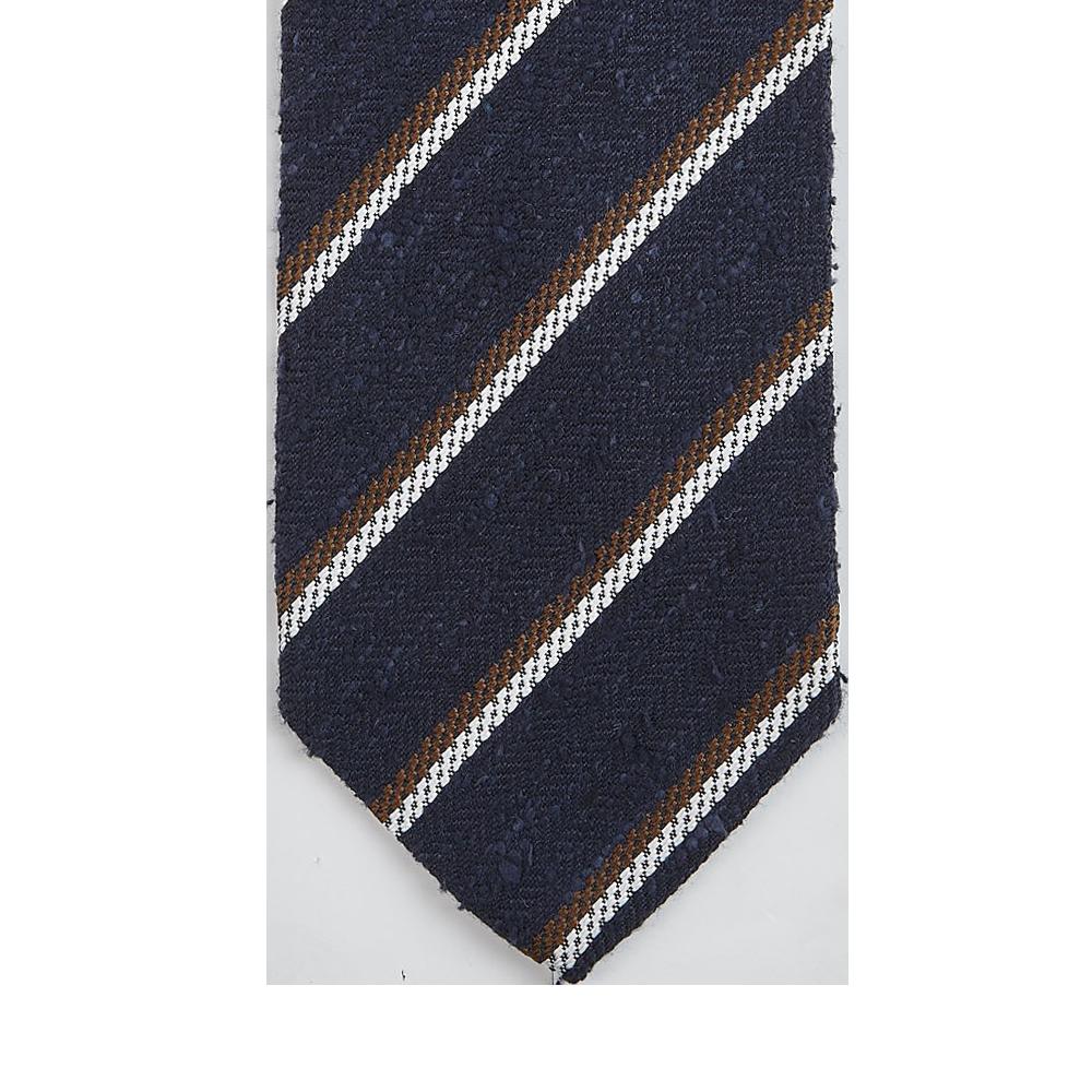 Amanda Christens Navy Striped Silk Tussah Tie Tip