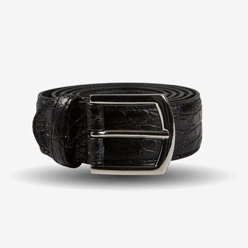 Canali Black Crocodile Belly Leather Belt Feature