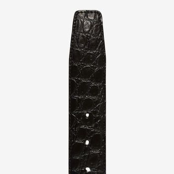Canali Black Crocodile Belly Leather Belt Tip