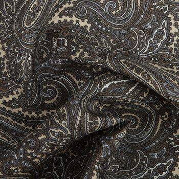 Gierre Milano Beige Paisley Printed Silk Pocket Square Fabric