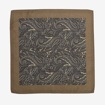 Gierre Milano Beige Paisley Printed Silk Pocket Square Feature