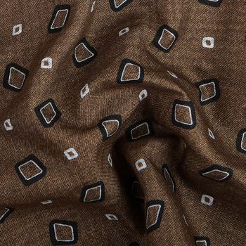 Gierre Milano Brown Two Faced Printed Cotton Silk Pocket Square Fabric