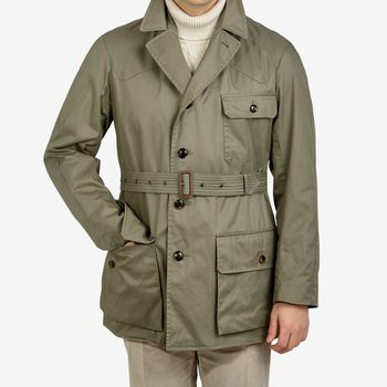 Grenfell Olive Green Cotton Gabardine Shooter Jacket Feature