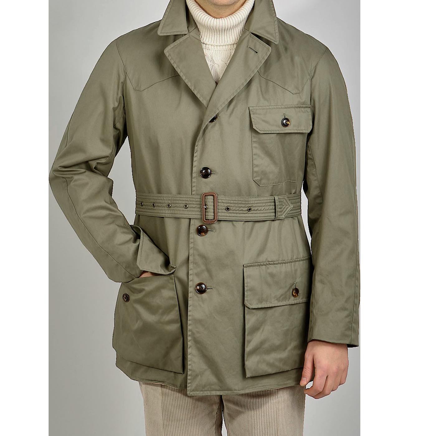 Grenfell Olive Green Cotton Gabardine Shooter Jacket Feature