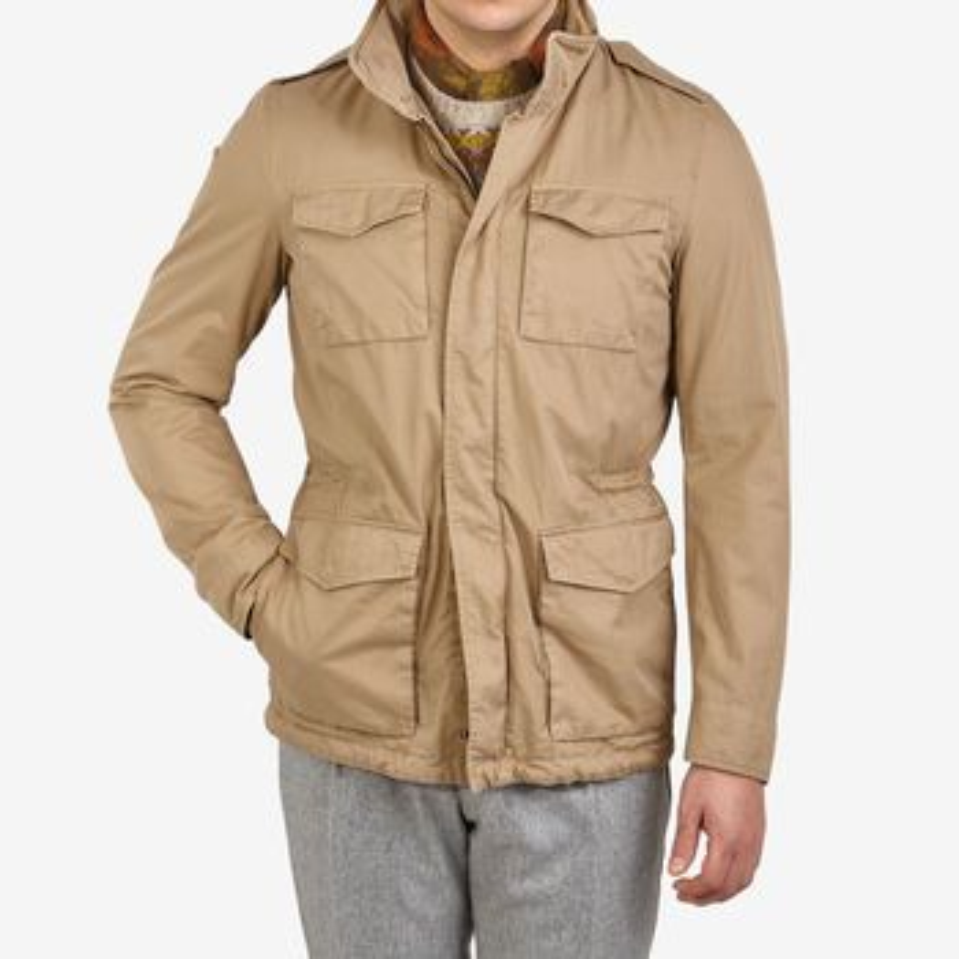 Herno Khaki Washed Cotton Field Jacket Front