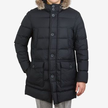 Herno Navy Quilted Goose Down Fur Hood Jacket Front
