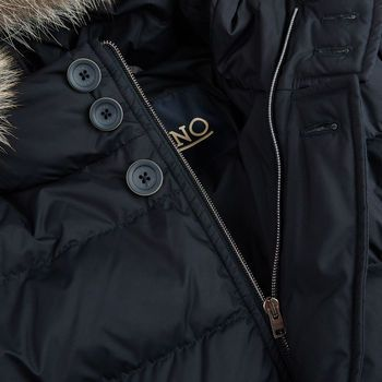 Herno Navy Quilted Goose Down Fur Hood Jacket Open