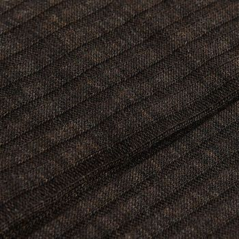 Pantherella Brown Merino Wool Ribbed Knee Socks Fabric