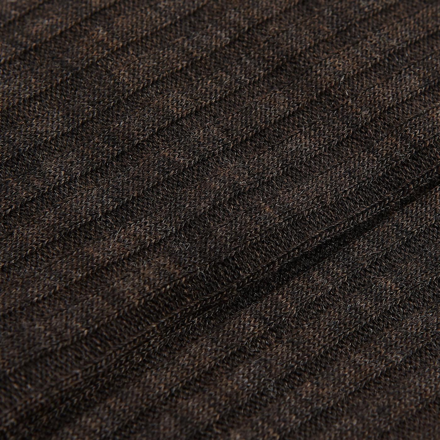 Pantherella Brown Merino Wool Ribbed Knee Socks Fabric