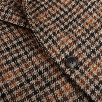Tagliatore Brown Checked Wool Cashmere Blazer Closed