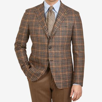Tagliatore Brown Checked Wool Cashmere Blazer Front