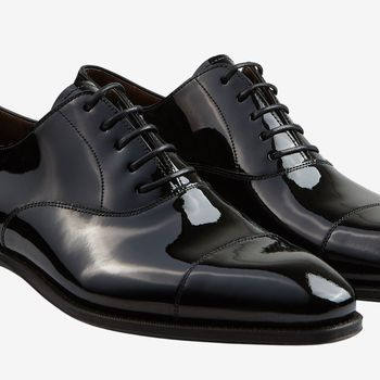 Carmina Black Rain Patent Leather Oxford Shoes Detail