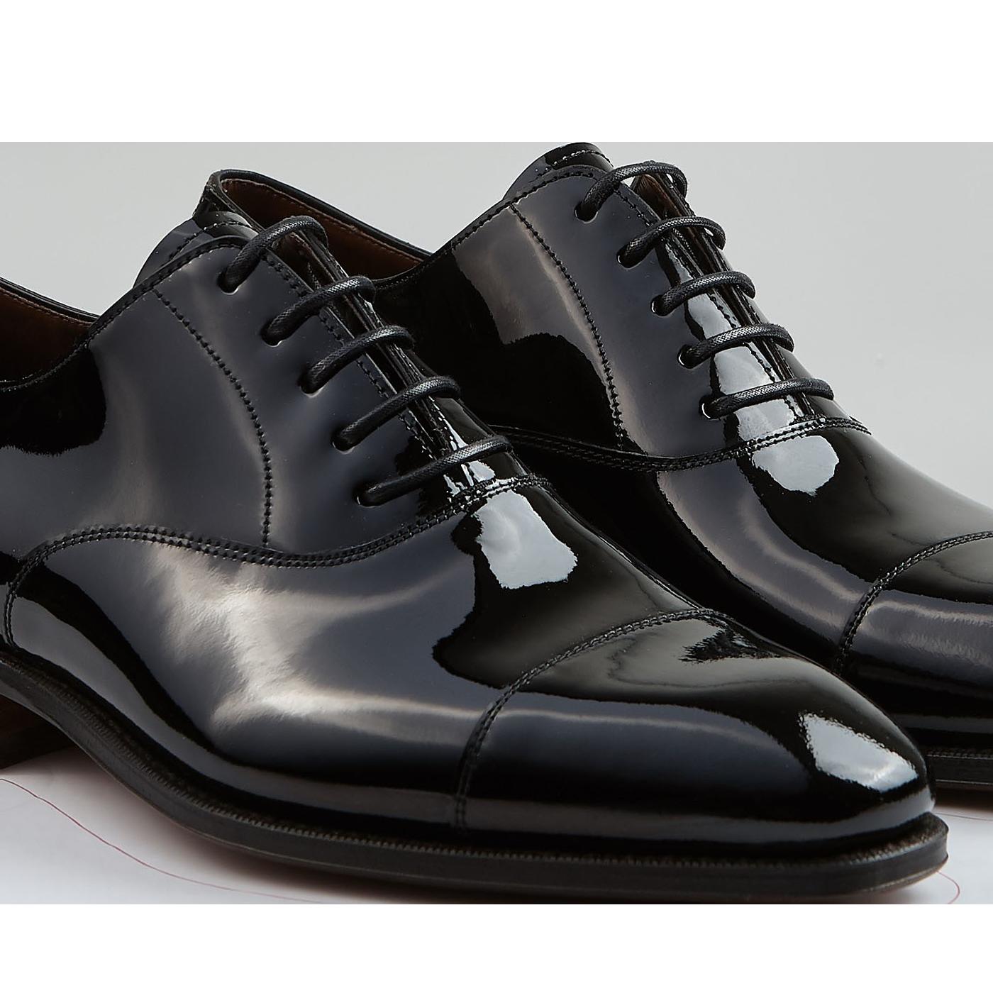 Carmina Black Rain Patent Leather Oxford Shoes Detail