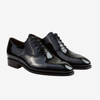 Carmina Black Rain Patent Leather Oxford Shoes Front