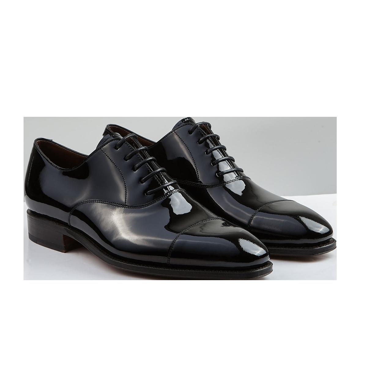 Carmina Black Rain Patent Leather Oxford Shoes Front