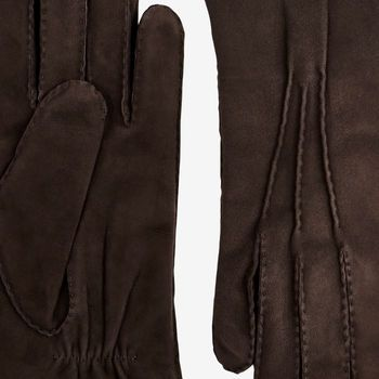 Hestra Brown Cashmere Lined Hairsheep Suede Gloves Detail