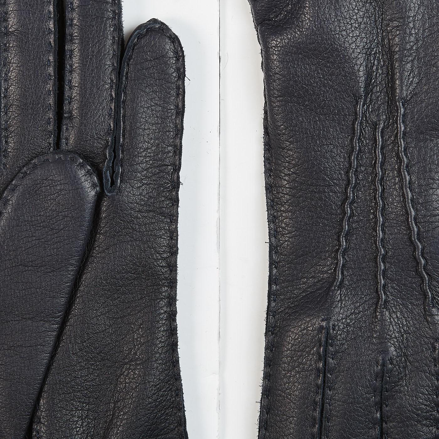 Hestra Navy Cashmere Lined Elk Gloves Details