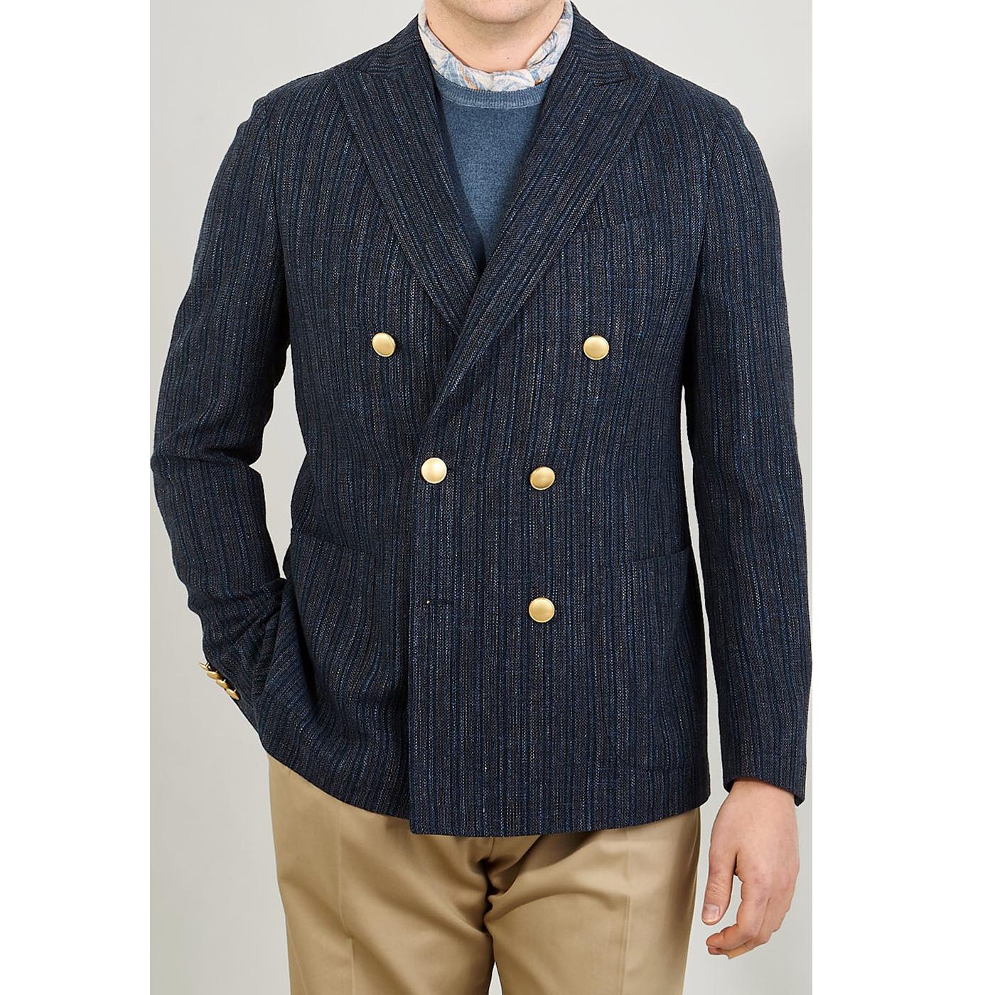 Lardini Blue Striped Wool Silk Linen DB Blazer Front