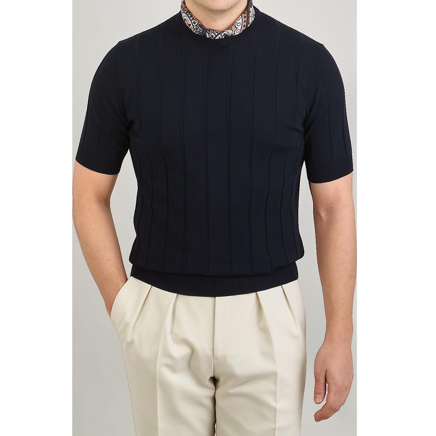 Lardini Navy Rib Knitted Cotton T-shirt Front