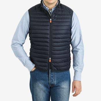 Save The Duck Navy Technical Down Gigay Nylon Gilet Front