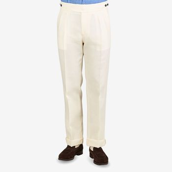 Berwich Cream White Linen Pleated Gurkha Trousers Front