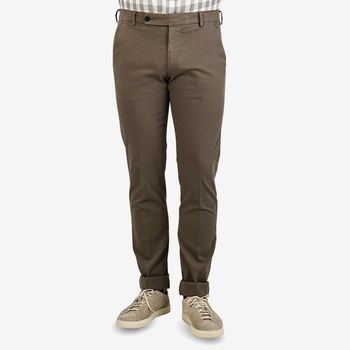 Berwich Washed Brown Cotton Stretch Chinos Front (kopia)