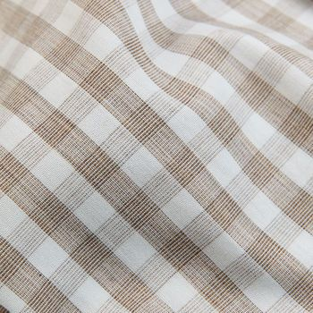 Canali Beige Checked Cotton BD Shirt Fabric