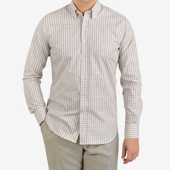 Canali Beige Checked Cotton BD Shirt Front