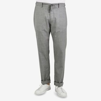 Canali Grey Wool Impeccabile Drawstring Trousers Front