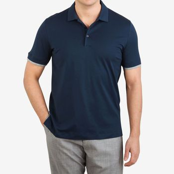 Canali Navy Blue Cotton Jersey Polo Shirt Front
