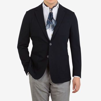 Canali Navy Cotton Jersey Unconstructed Blazer Front