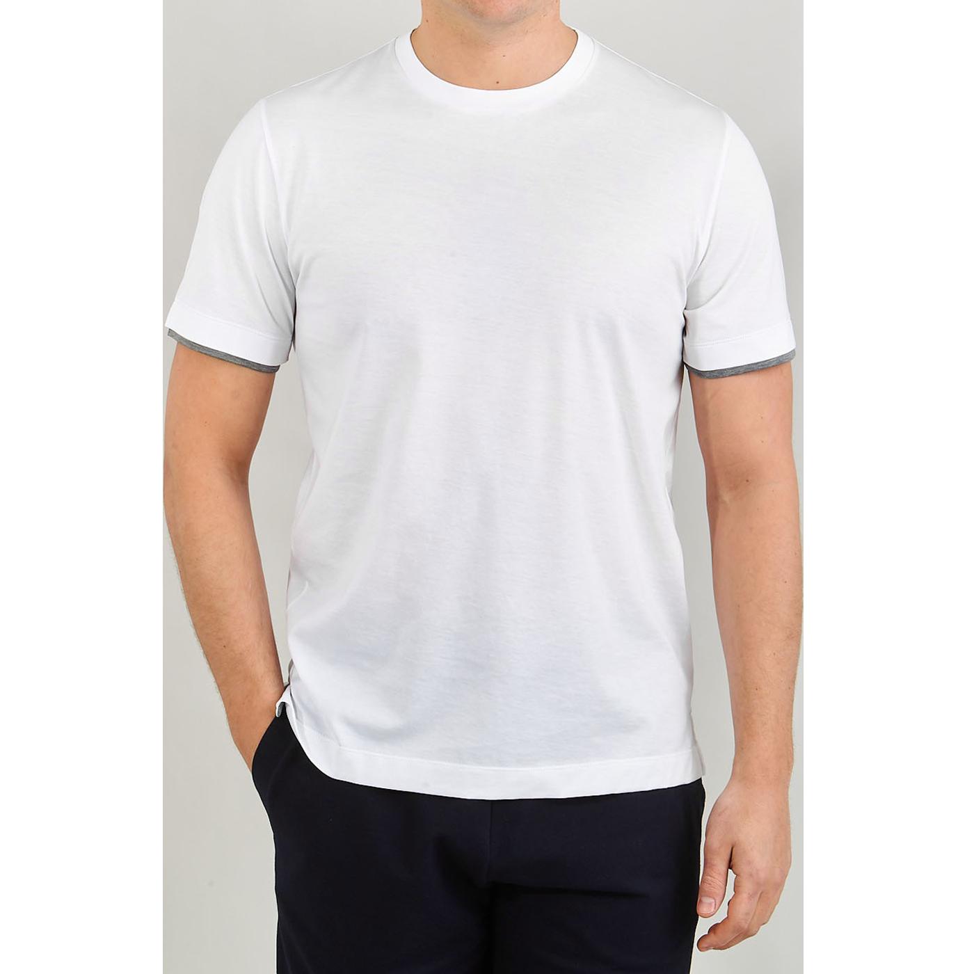 Canali White Long Staple Cotton T-Shirt Front
