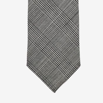 Dreaming of Monday Black Glencheck 7-Fold High Twist Wool Tie Tip