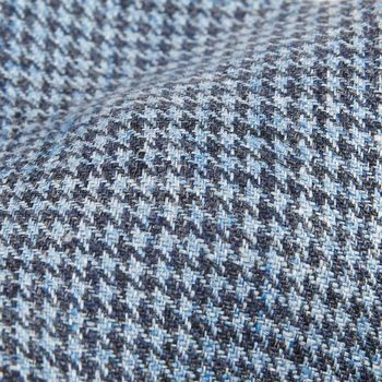 Dreaming of Monday Blue Houndstooth 7-Fold Vintage Linen Tie Fabric