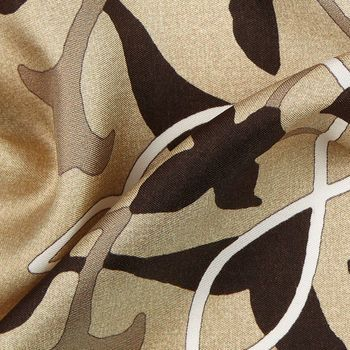 Gierre Milano Light Beige Printed Flowers Silk Bandana Feature