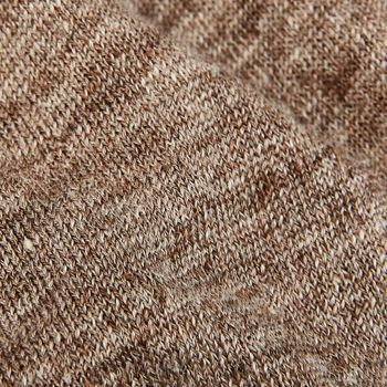 Gran Sasso Brown Melange Knitted Linen Polo Shirt Fabric