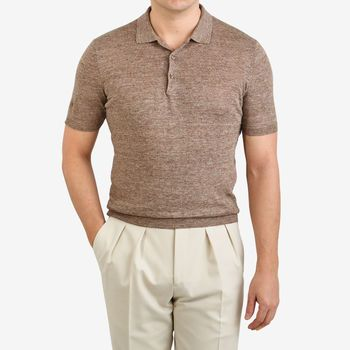 Gran Sasso Brown Melange Knitted Linen Polo Shirt Front