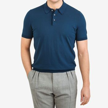 Gran Sasso Petrol Blue Fresh Cotton Polo Shirt Front