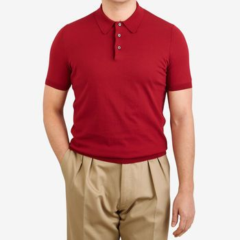 Gran Sasso Raspberry Red Fresh Cotton Polo Shir Front