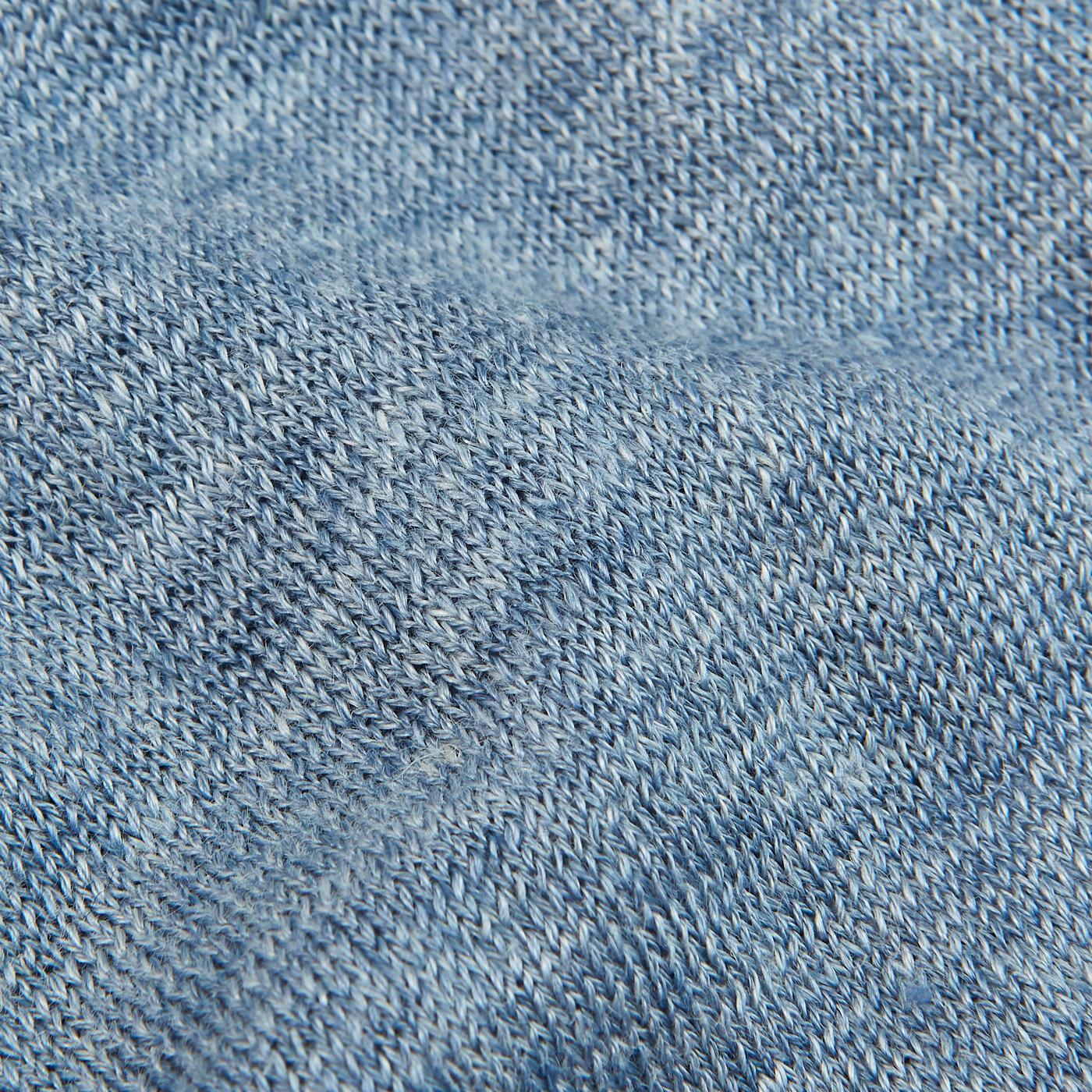 Gran Sasso Sky Blue Melange Capri Collar Linen Polo Shirt Fabric