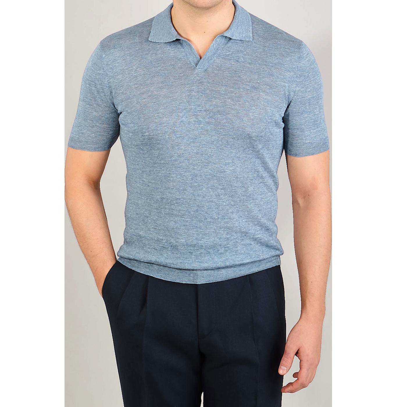 Gran Sasso Sky Blue Melange Capri Collar Linen Polo Shirt Front