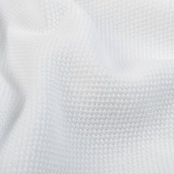 Gran Sasso White Fresh Cotton Mesh Polo Shirt Fabric